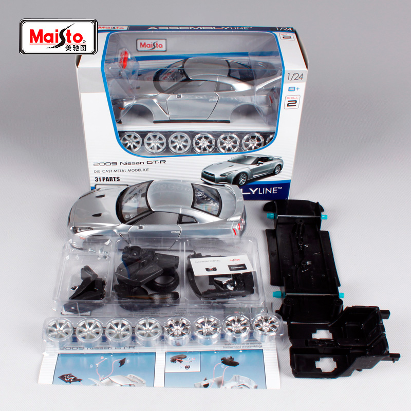 Maisto 1:24 Nissan GTR GT-R Assembly DIY Diecast Model Car Toy New In Box Free Shipping 39294 maisto 1 24 nissan gtr gt r r35 tokyo mod diecast model racing car vehicle toy new in box