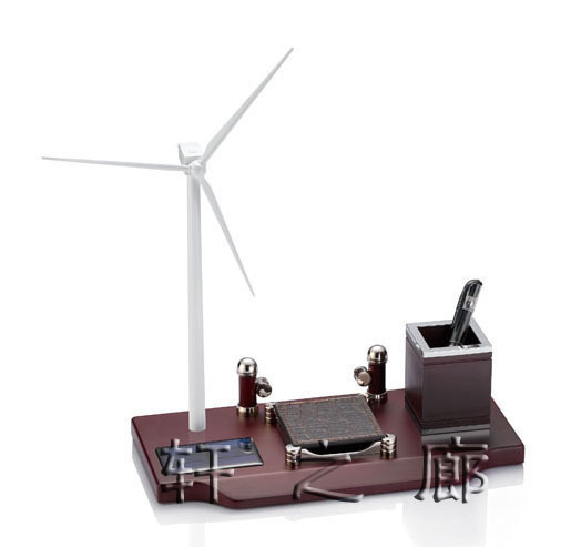 Solar Wind Turbine Model Desktop Ornaments Business Gifts Desk Stationery Sets Decoration