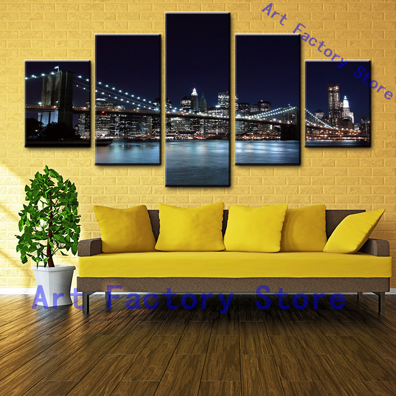 Wall Art Canvas Painting Poster Wall Pictures For Room Home Decor 5 Panels City Night Bridge Landscape Modular Pictures