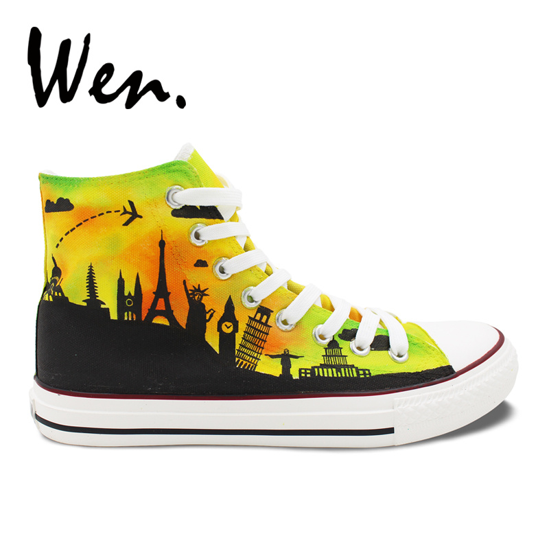Wen Original Design Hand Painted Canvas Shoes for Men Women World Famous City Landmarks High Top Flats Lace Up Sneakers Gifts