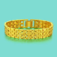 Przesadzone 24 k złota bransoletka męska czystego złota bransoletka bijoux Czeski styl złota biżuteria męska bransoletka prezent urodzinowy łańcuchy