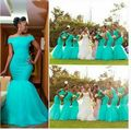 Mermaid 2016 African Bridesmaid Dresses Off Shoulder Long Beach Wedding Party Gowns Lace Arabic Maid Of Honor Dress