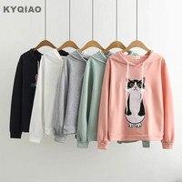 KYQIAO Christmas Pullover Sweet Lolita Top Mori Girls Autumn Winter Japanese Style Kawaii Cat Green Pink