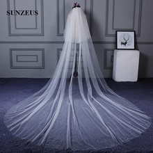 2 Layers Pure Ivory Tulle Long Cathedral Bridal Veil with Comb 4 Meters Veils with Pearls Elegant Wedding Accessories  SBV25