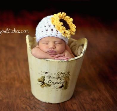 Girasol sombreros gorros , gorras patrón de ganchillo para bebé ...