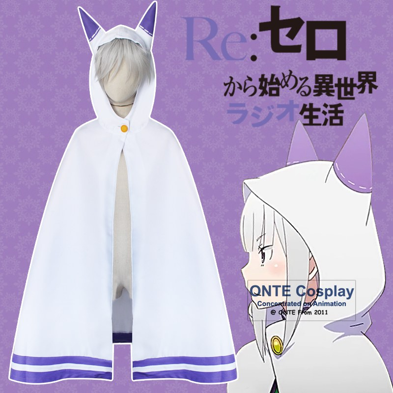 Re:Zero kara Hajimeru Isekai Seikatsu Cosplay Costumes Emilia Cloaks Cute Cat Robe for Halloween Fancy Party