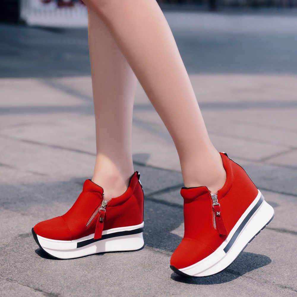 טריזי נשים מגפי 2019 פלטפורמת נעלי אישה מטפסי להחליק על קרסול מגפי דירות נשים נעלי גבירותיי אופנה מזדמן בתוספת גודל