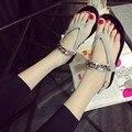 2016 boemia verão feminino heel flip-flops plana sandálias antiderrapante sandálias