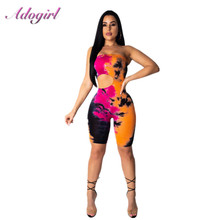 цена на Adongirl Print Floral Off Shoulder Backless Playsuit Woman Summer 2019 Skinny Casual Straplessr Hollow Out Waist Short jumpsuit