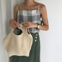 Bolso de compras plegable reutilizable bolsa para colgante plegable bolso Totes bolso tejido suave Hilado mujeres tejen el bolso