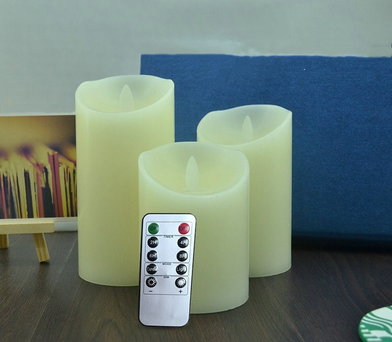Image 2 - set of 3 Flickering Flameless Pillar LED Candle Remote controlled timer Moving Dancing wick melted edge Wedding Xmas Party AmberCandles   -