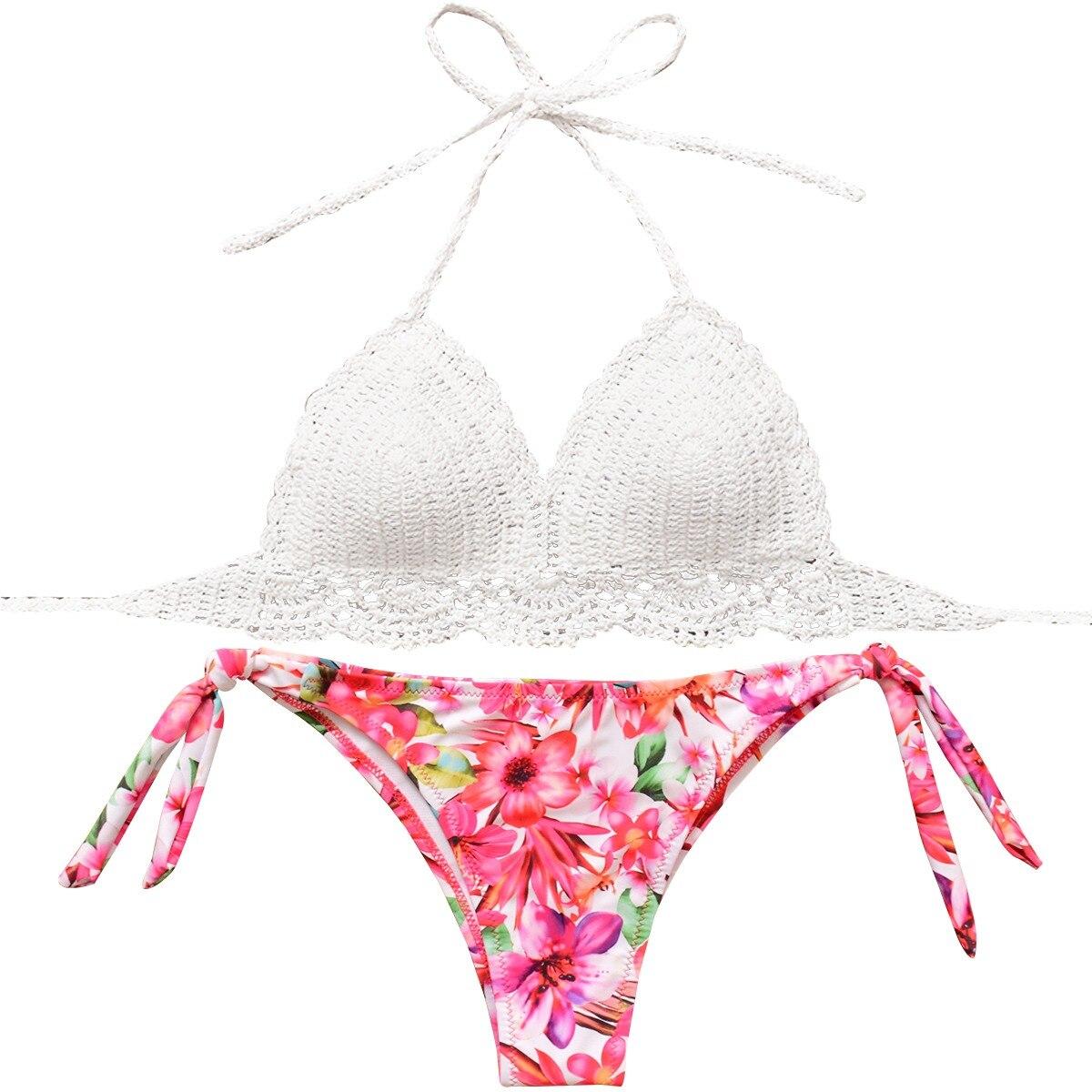 53bb812408 Crochet Bikini set Women Handmade Knitted Swimsuit Sexy Floral Print Bikinis  mujer Swimwear Bathing Suit biquinis
