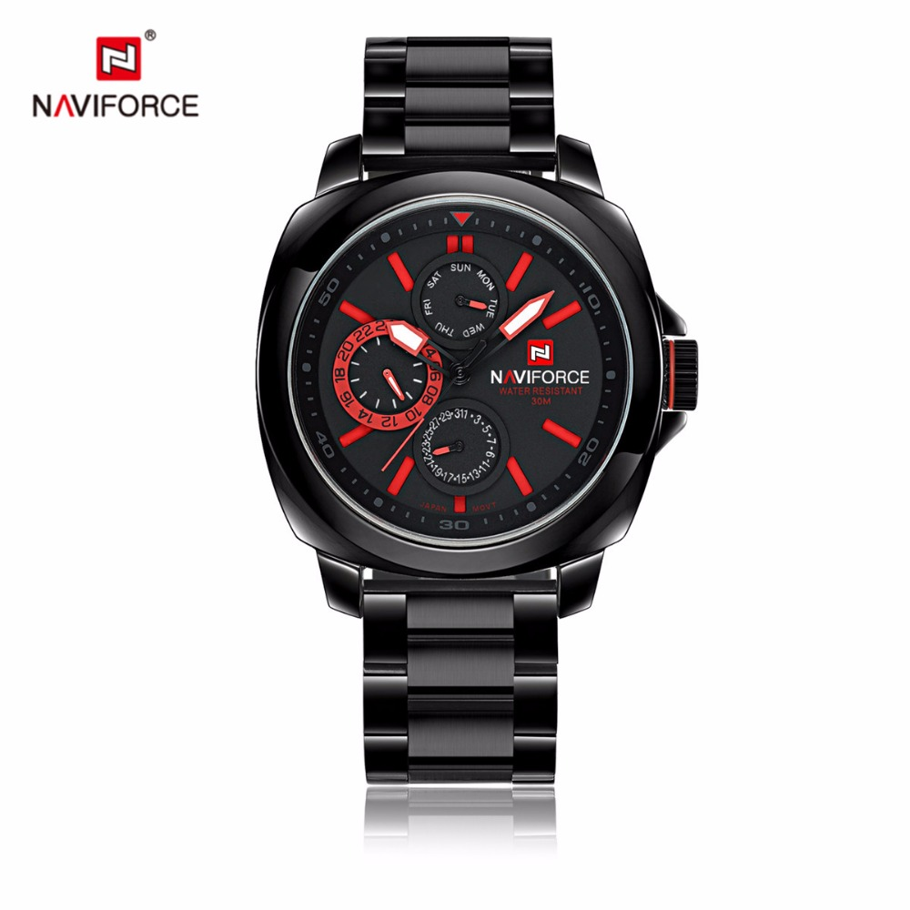 ФОТО Brand New NAVIFORCE Chronograph 24 Hours Stainless Steel Band Men Outdoor Sports Watch fashion wristwatches Relogio masculino