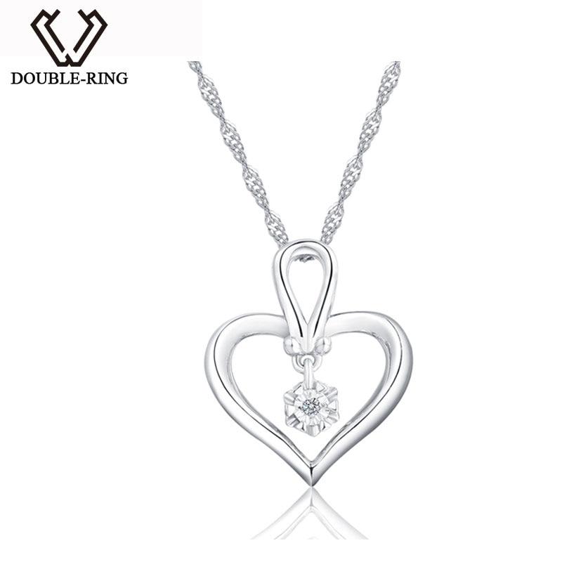 DOUBLE-R Wedding Pendants Female 925 Sterling Silver 0.01ct Diamond Heart Pendants Romantic Gift Heart Jewelry CAP03757SA-1DOUBLE-R Wedding Pendants Female 925 Sterling Silver 0.01ct Diamond Heart Pendants Romantic Gift Heart Jewelry CAP03757SA-1