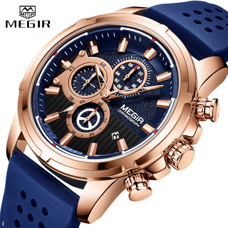 <font><b>MEGIR</b></font> New Mens Watches Top Brand Luxury Quartz Sport Watch Men Rubber Silicone Chronograph Waterproof Military Male Wrist Watch image