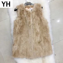 2019 New Autumn Winter Women Rex Rabbit Fur Vest Long Style Warm Soft Natural Rex Rabbit Fur Gilet Rex Rabbit Fur Waistcoat cheap REGULAR Thick Warm Fur Natural Color O-Neck Real Fur YH04241 Sleeveless Covered Button Solid Casual Slim STANDARD 100 real natural rex rabbit fur