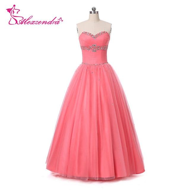 Alexzendra Watermelon Color Tulle Beaded Prom Dresses Simple Long ...