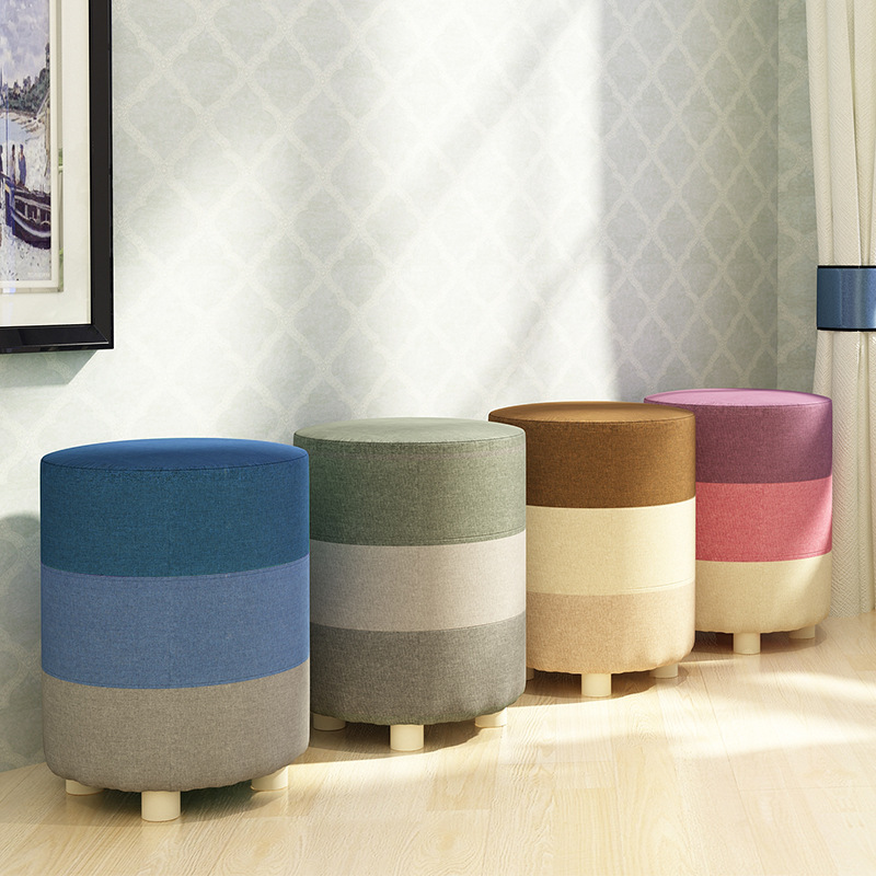 Fashion Modern Creative Home Footstool Small Chair Soft Natural Lining  Shoes Stool Solid Wood Support Living Room Bedroom Stool