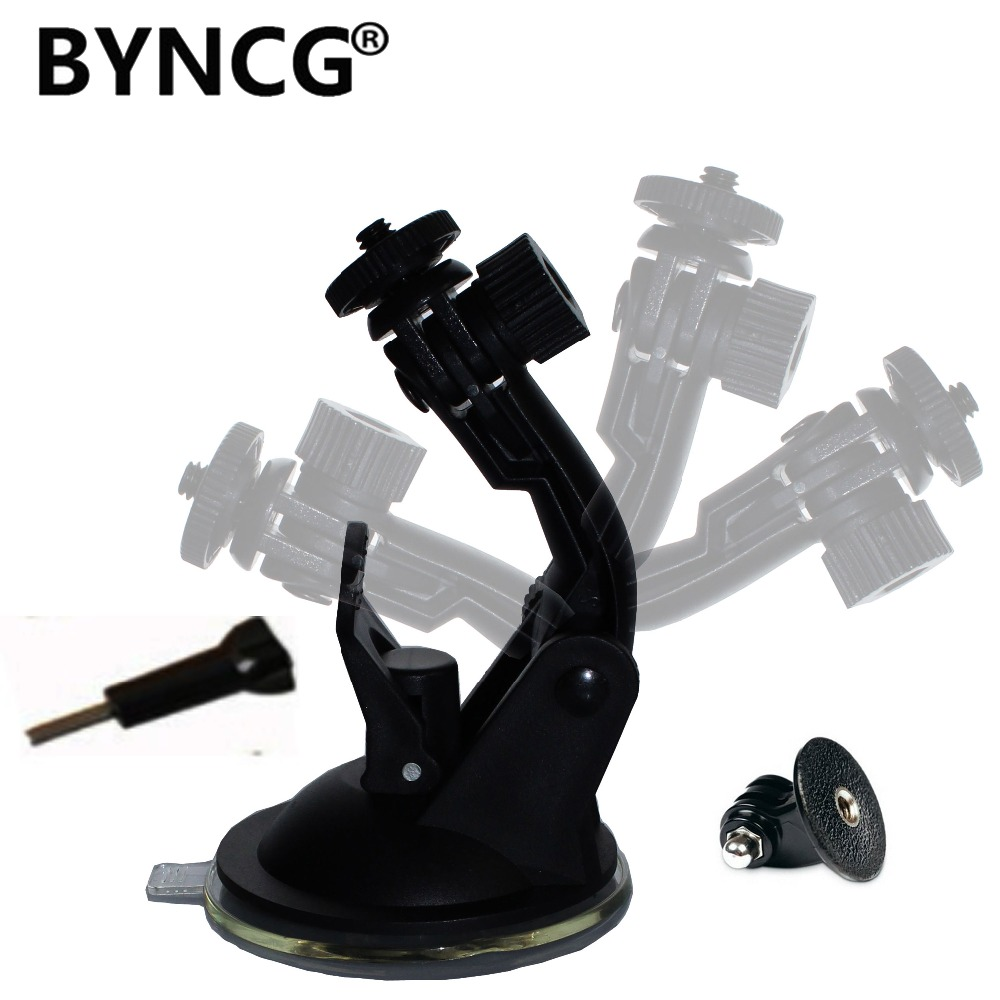 BYNCG for Gopro Hero 6 Accessories Hero4 Hero3+ Car Suction Cup Black Edition + Go Pro Screw + Adapter Sj6000 Sj 5000 4000 byncg for gopro hero 6 accessories strap for go pro hero4 hero 1234567 xiaomi yi accessories sport action camera black edition
