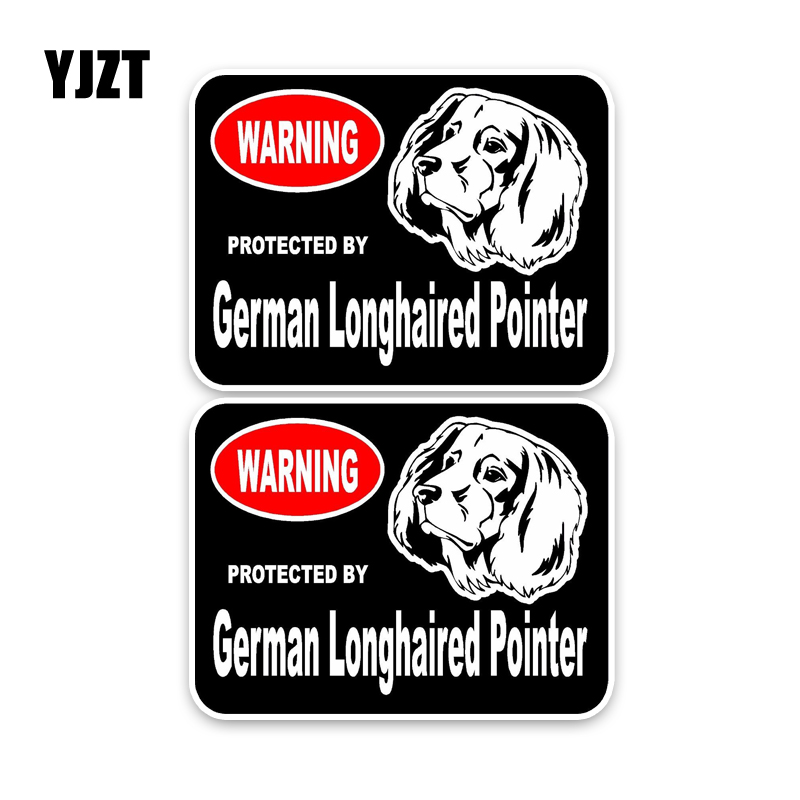 YJZT 15*11.4CM 2X German Longhaired Pointer Guard Dog Reflective Lnterest Car Sticker C1-4391