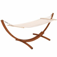 123 x 46 x 48 Outdoor Furniture Camping Wooden Curved Arc Hammock Swing OP3120