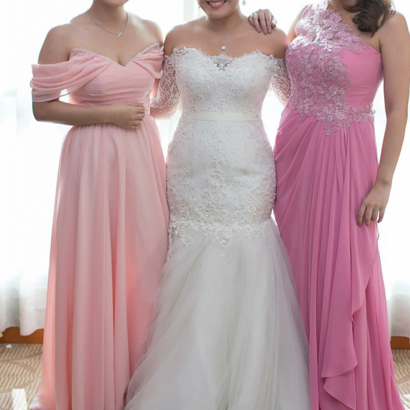 Cheap Two Styles Chiffon Bridesmaid Dresses Navy Blue/Peach/Ivory ...