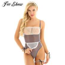 Women See Through Sheer Maid Cosplay Exotic Costume Lingerie Bodysuit Sleeveless Lace Bust Crotchless High Cut Leotard Clubwear(China)
