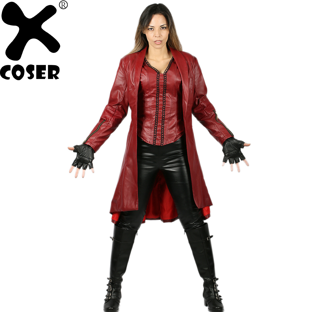 ed8468e49b XCOSER Captain America Civil War Scarlet Witch Cosplay Costume Suit Women  Halloween Christmas Party PU Faux Leather Cosplay Set