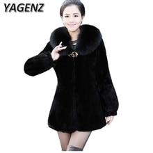 YAGENZ 2017 Winter Faux Fox Fur Jackets Women Coats Winter Fashion Long sleeves Warm Slim Lady Fur Outerwears Plus size 5XL 6XL