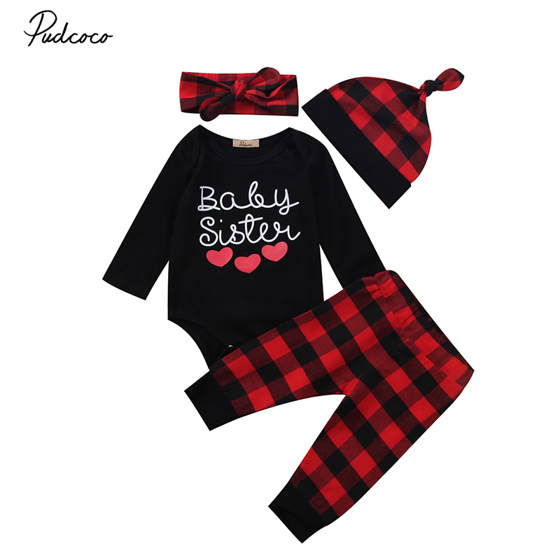 2017 Brand New Baby Sister Newborn Clothes Autumn Infant Girl Romper Tops Red Plaid Pant Trouser Hat Headband 4pcs Tracksuit Set