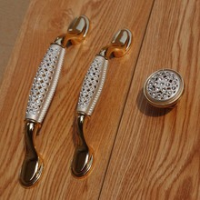 96mm 128mm fashion deluxe rhinestone dresser wardrobe door handles silver white gold glass crystal drawer cabinet knob pull 5″