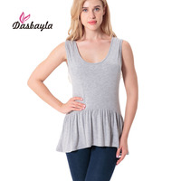 Dasbayla 2017 Women Summer Tank Tops Solid Loose Pleated Hem Cotton Sleeveless O Neck Long Tshirt