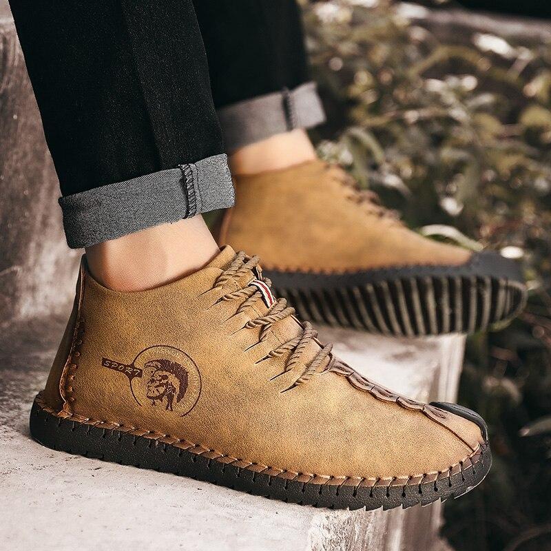 2018 Fashion Leather Shoes Men Retro Casual Shoes Moccasins Non-slip Sneakers  Super Hot Flats Black Zapatillas Hombre Men Shoes
