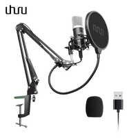Micro à condensateur UHURU USB Podcast 192 kHZ/24bit Kit de Microphone cardioïde en continu pour ordinateur portable Youtube karaoké