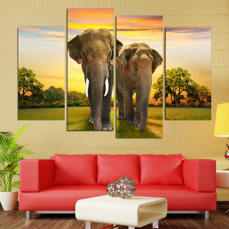 4 Panel Wall Art Canvas Painting Animal Elephant Home Decor Canvas ...