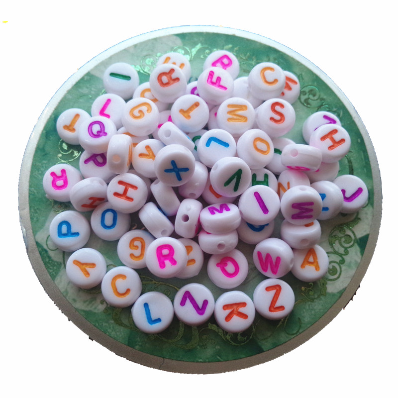 Free Shipping 4*7mm Mix Letters Colorful Acrylic Letter Beads Jewelry Flat Round Coin Acrylic Alphabet Beads