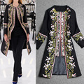 Coat 2016 Autumn Spring Winter Coat Fashion  European Elegant Women Long Sleeve Retro Embroidery Long Trench Coat A410