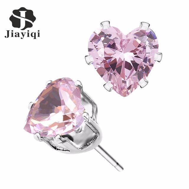 Heart Cubic Zirconia Romantic Stud Earrings