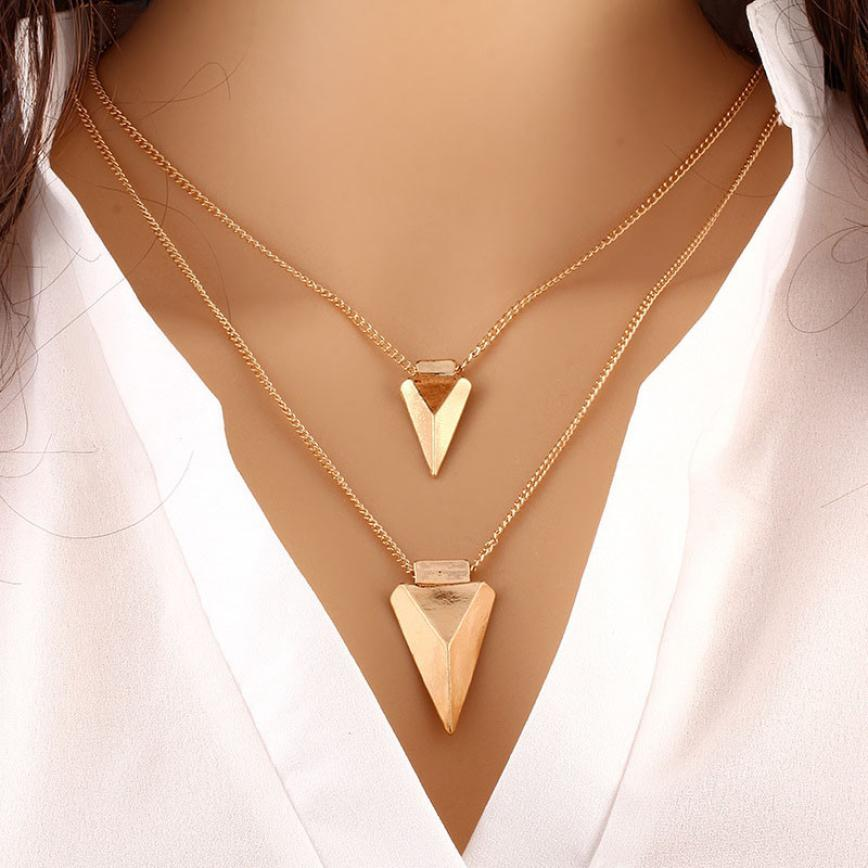 Necklaces Pendants Two Layer Arrow Chokers Nacklaces Gold For Woman Chain Statement Koly ...