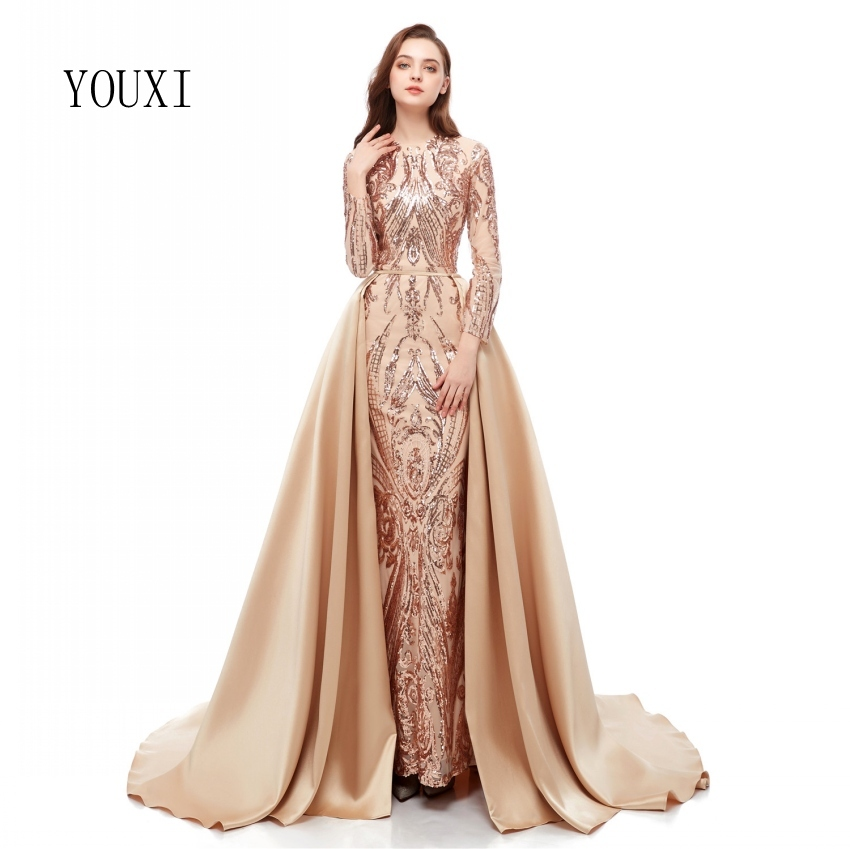 Elegant Muslim Champagne Long Sleeve   Evening     Dresses   2019 With Detachable Train Sequin Bling Moroccan Kaftan Formal Party Gown