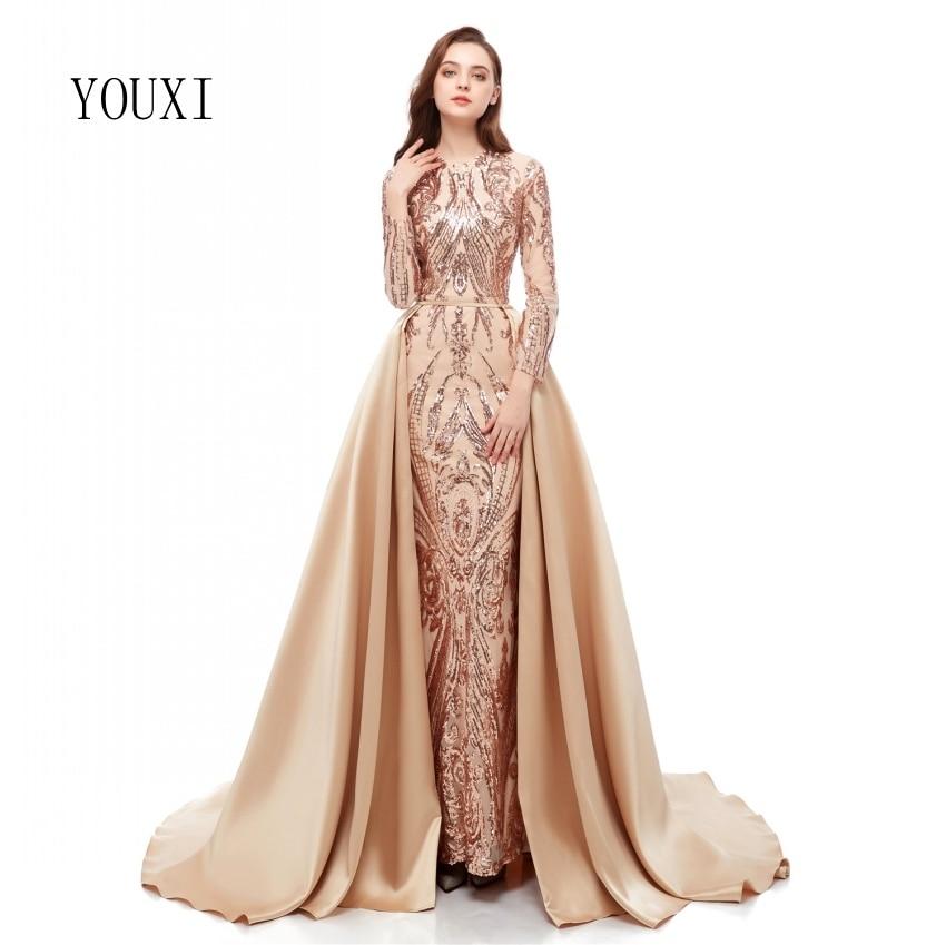 Robes de soirée élégantes à manches longues en Champagne musulman 2019 avec Train détachable Sequin Bling caftan marocain robe de soirée formelle