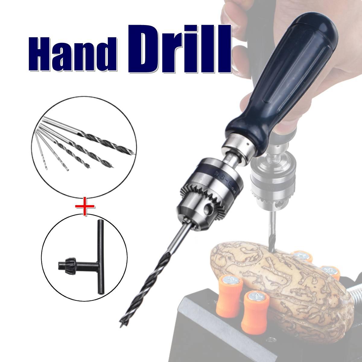 Hand Drill Jewelry Craft Hand Manual Drill Chuck Mini Hand 5PCS Twist Drill Bit With Keyless Chuck Woodworking Rotary Tools