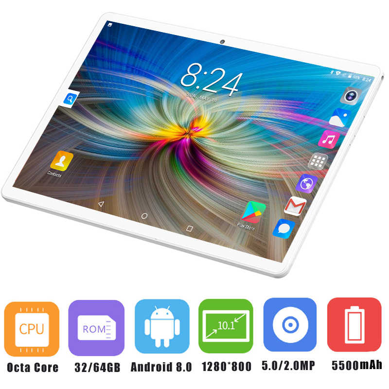 Free Shipping 10 inch Octa Core 3G 4G FDD LTE Tablet pc 4GB RAM 64GB ROM IPS 1280*800 Android 8.0 Tablet Phablet 10.1+Gifts