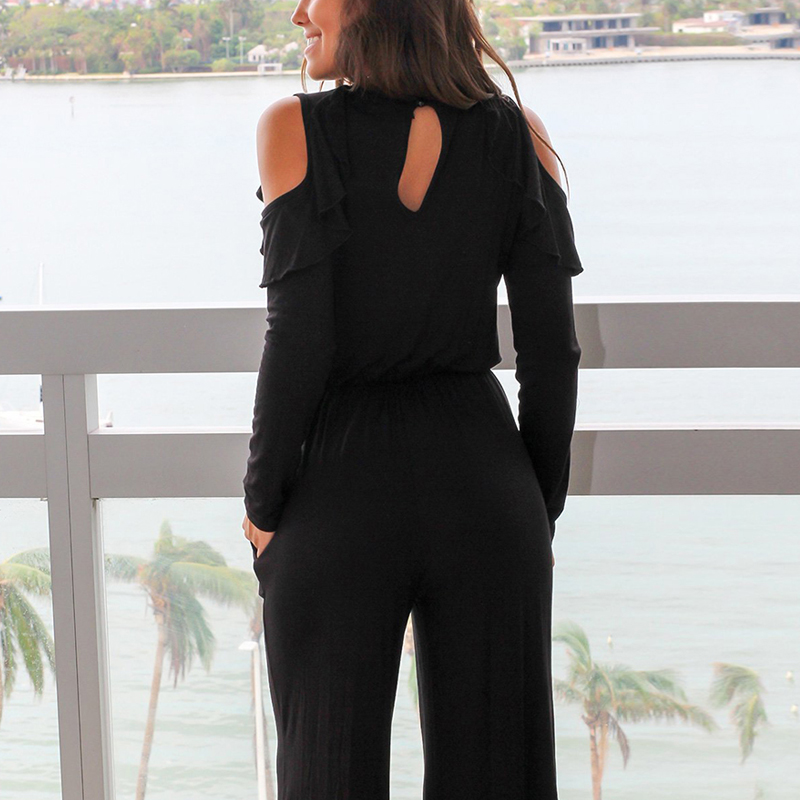 LORDXX Black Ruffle Cold Shoulder Long Sleeve Jumpsuit 2018 New Casual Body femme O-Neck Elegant Rompers womens Jumpsuit