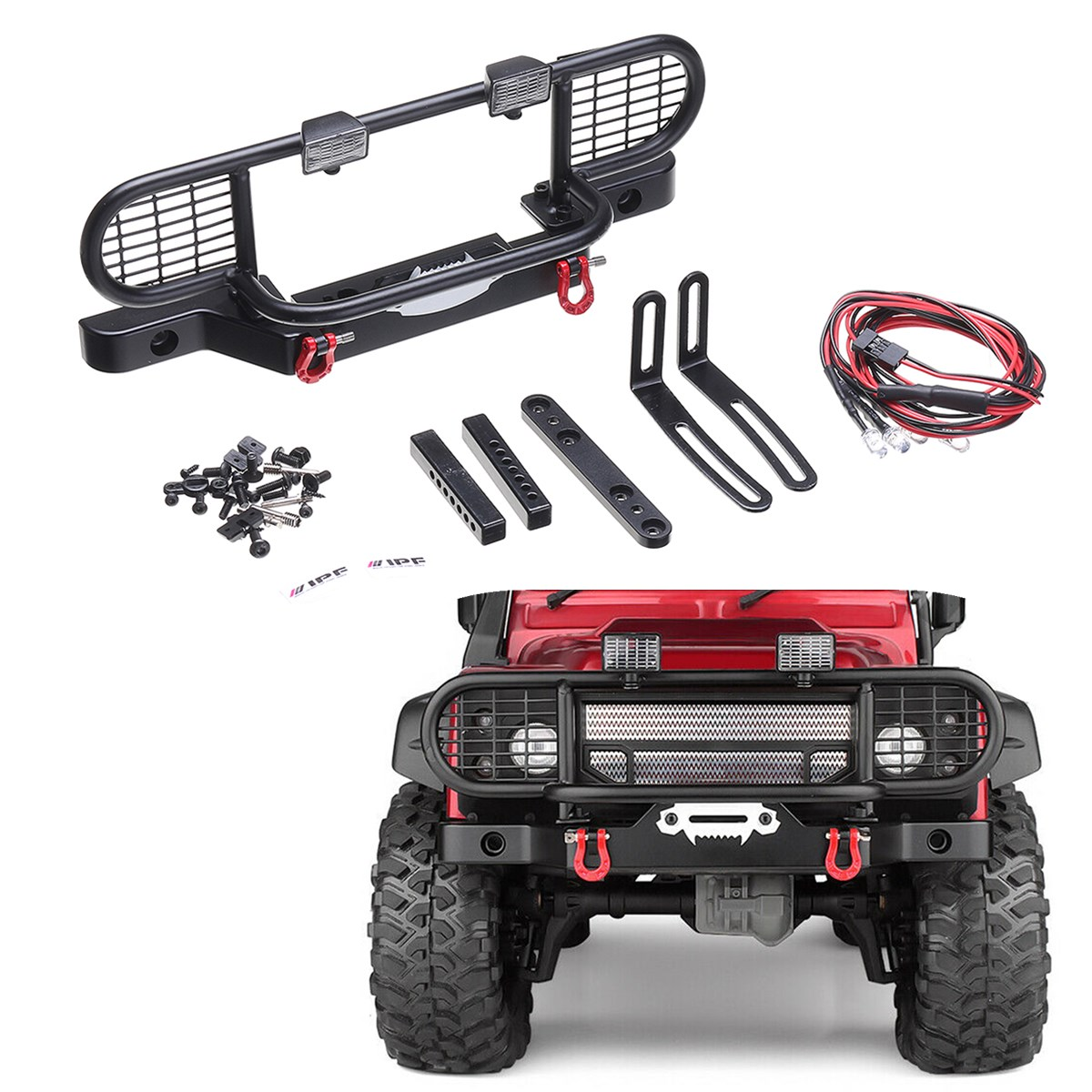1 Set Metal Front Bumper With Light for 1/10 Scale RC Crawler Car for Traxxas TRX4 TRX 4 Remote Control Car Accessories