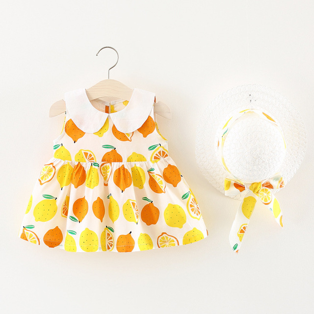 3ef1e3be331c Baby Clothes New 2018 Printed Doll Collar Design Sleeveless Dress+Fashion  Hat Summer Girls Baby