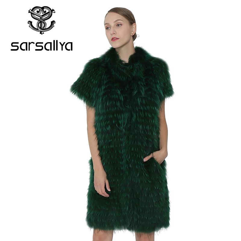 SARSALLYA Winter Women Real Fox Fur Vest Coat Real Silver Fox Fur Vest Fashion Jacket Women