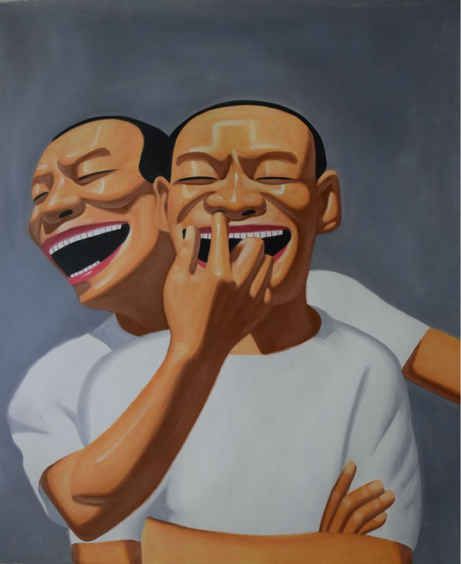 Ručně malované moderní portrét Malba na plátně Šťastný smích Man olejomalba na plátně Nástěnná malba Obrazová malba pro domácí dekor