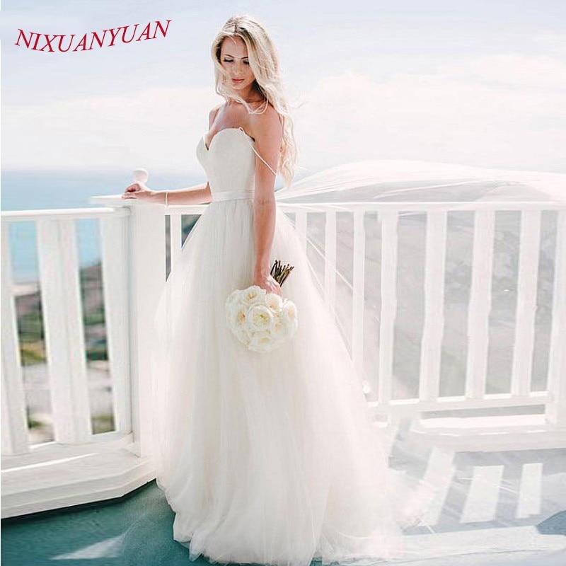 NIXUANYUAN Simple A Line Wedding Dress Cheap Sweetheart Spaghetti Straps Bridal Dresses robe de mariee Tulle