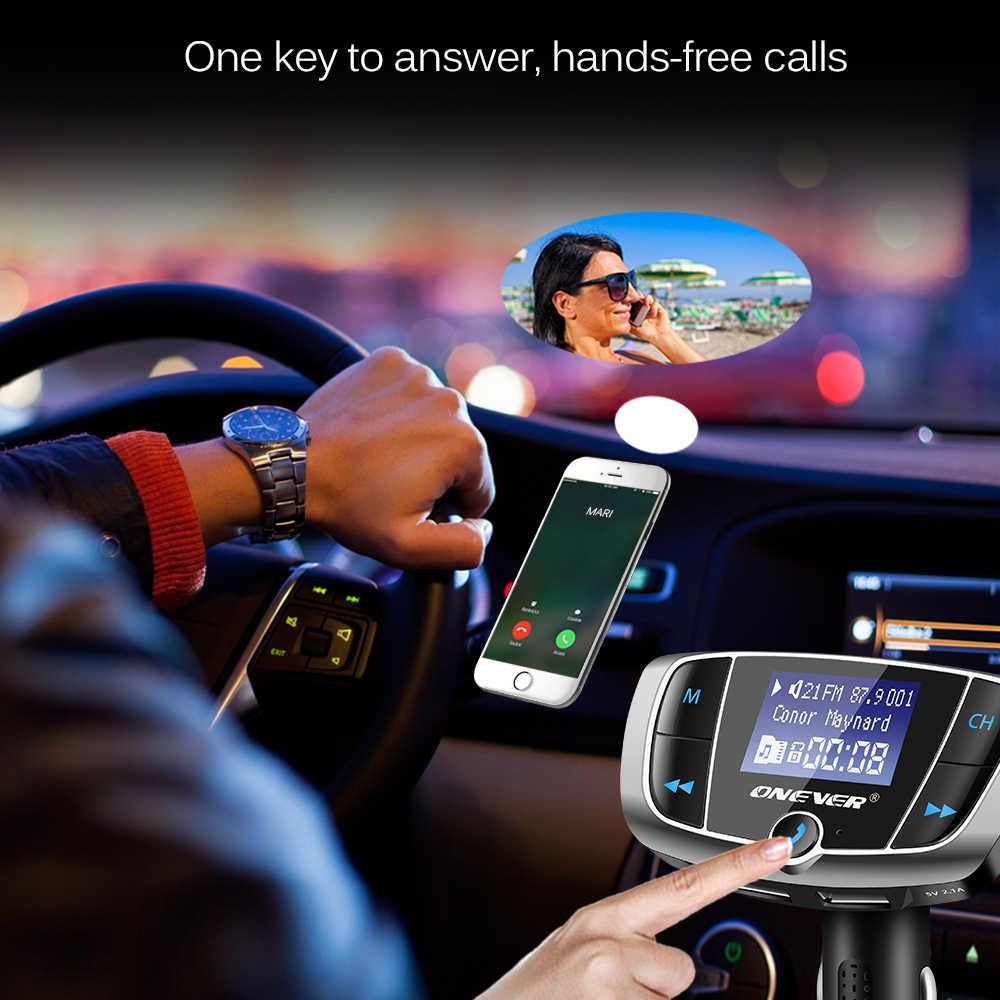 Onever Bluetooth fm-передатчик беспроводной радио адаптер fm-модулятор автомобильный комплект с 3.4A Dual USB Автомобильное зарядное устройство вольтметр DC 12-24 В в
